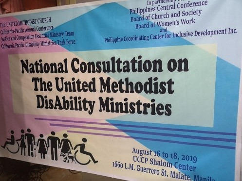 Conference banner, disability symbols and text National Consultation on the United Methodist Disability Ministries